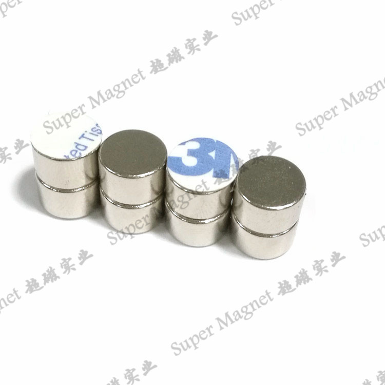 ND8*5mm Sintered NdFeB Diametral magnets with adhesive tape Grade N48H
